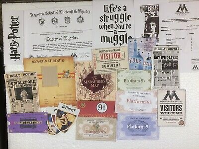 Harry Potter Train Tickets, Bus, Certificates,Student Id & More Scrap Booking.