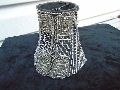 Small Vintage Handmade Clip On Black Beaded Lampshade Silver Beads