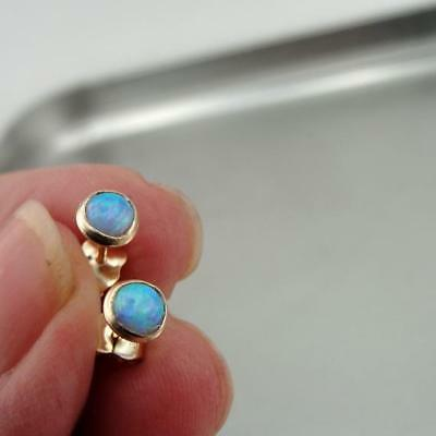 4639172c98637 HADAR DESIGNERS 5MM Blue Opal Stud Earrings Handmade 14k Yellow Gold filled  (v