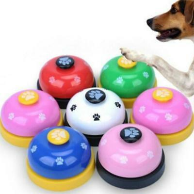 Pet Dog Cat Button Click Clicker Trainer Training Obedience Aid Meal Bells BS