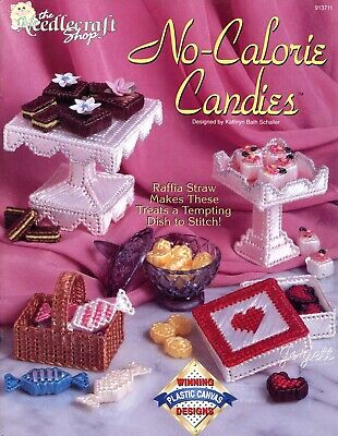 No-Calorie Candies ~ Serving Dishes & Candy plastic canvas patterns RARE new