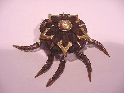 Super Nice Civil War Era Gold And Hair Mourning Pin  Dated 1861