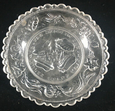 Clear Glass Antique Pressed Glass Small Plate Wedding Day Motto Sandwich 3 Weeks