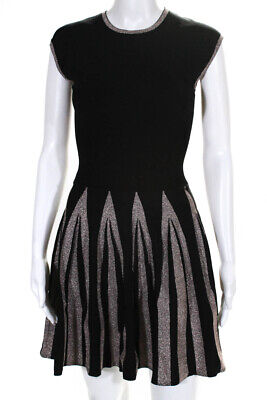 3ac70cd6c Ted Baker Womens Sleeveless Knit Skater Dress Black Metallic Striped Size 0