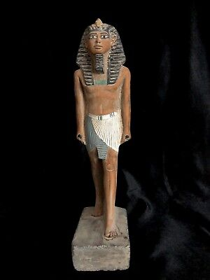 ANCIENT EGYPTIAN ANTIQUES STATUE King Tutankhamun Pharaoh EGYPT Carved STONE BC