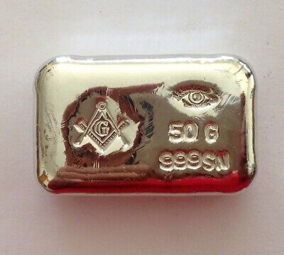 50g hand poured tin bar 999 FreeMason masonic nice add to american silver eagle