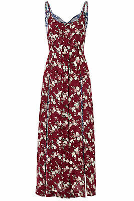 abf30ca9c77 Cinq a Sept Red Blue Floral Printed Layered Womens 6 Maxi Dress Silk  595-
