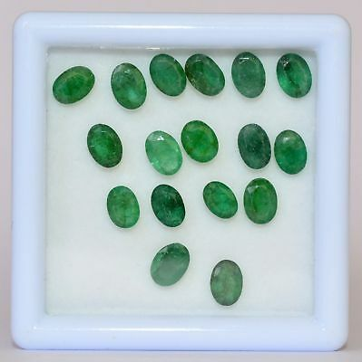 Certified Natural Emerald Oval Cut 7x5 mm Lot 17 Pcs 11.52 Cts Loose Gemstones