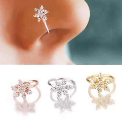 Crystal Flower Nose Ring Cartilage Ear Stud Piercing Jewelry Hoop Tragus Jewelry