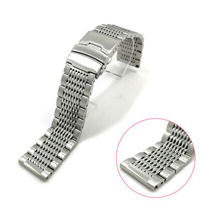 Fashion Double Clasp Strap Replacement Wrist Watch Bracelet Band Stainless Steel