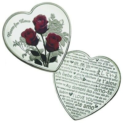 52 Languages I Love You Heart-Shaped Roses Wedding Commemorative Coins Gift