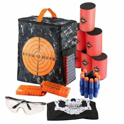Storage Target Back Bag+200pcs Gun Blue Bullet Darts+Vest for Kid NERF N-Strike