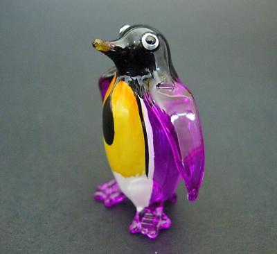 Blown Glass PENGUIN Purple Glass Animal Glass Ornament Curio Display Animal Gift