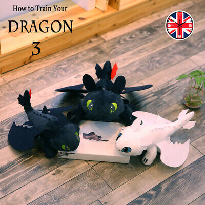 "10""/24"" Toothless Night Fury LightFury How to Train Your Dragon Plush Doll Toys"
