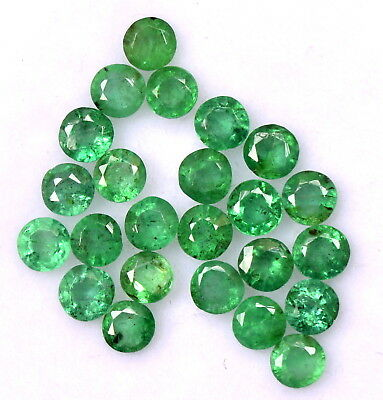 Natural Emerald Round Cut 2.75 mm Lot 25 Pcs 2.38 Cts Faceted Loose Gemstones