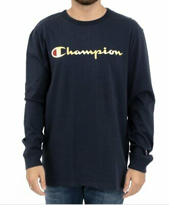 12f08dd9 Champion Heritage Script Long Sleeve T Shirt - Navy/Gold Metallic SZ S-XXL