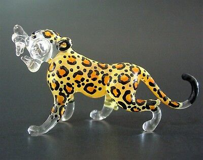 Small Glass LEOPARD Spotted Wild Cat Painted Glass Ornament Curio Display Gift