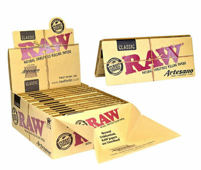 Raw Artesano King Size Slim Classic Papers + Roach Filter Tips + Rolling Tray UK