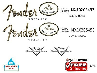 Fender Telecaster Guitar Decal Headstock Inlay Decal Restoration Logo 24