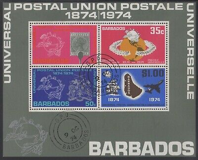 Barbados 1974 UPU minisheet, used (CTO)