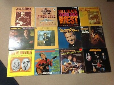 Mixed Lot Of 12 Country Music LP Albums; Hank, Waylon, Ferlin, Scruggs, Etc..