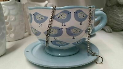 Hanging Teacup Garden Ornament Bird Feeder