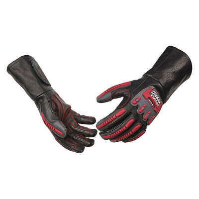 """LINCOLN ELECTRIC Welding Gloves,Leather Palm,16"""" L,L Size, K3109-L, Black/Red"""