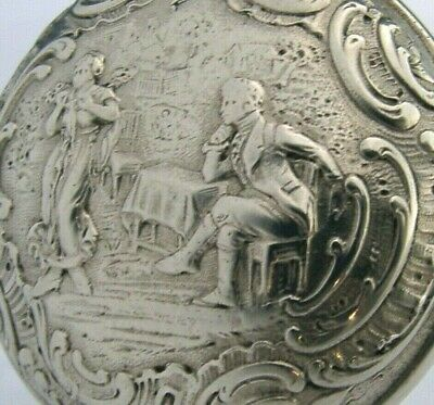 QUALITY HANAU SOLID SILVER SNUFF BOX c1900 ANTIQUE 53g UNUSUAL ANTIQUE