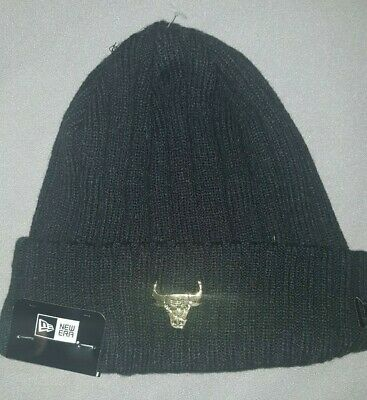 cb18b02be29 New Era Nba Chicago Bulls Badge Slick Knit Beanie Mens Hat Black Gold  20938677