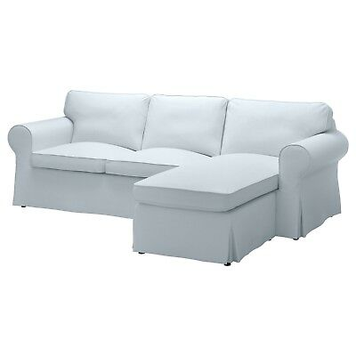 Ikea EKTORP 3-Seat Sofa w/Chaise COVER ONLY Nordvalla Light Blue - NEW in Pack