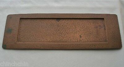 Magnificent ARTS and CRAFTS Hand Hammered COPPER Pen TRAY Rich PATINA Verdigris