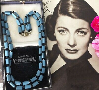 VINTAGE 1950s FRENCH JET TURQUOISE SATIN GLASS BEADS DOUBLE STRAND NECKLACE GIFT