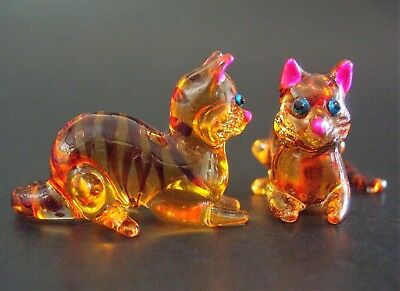 2 Tiny Glass CATS KITTENS Stripy Orange Painted Miniature Glass Animal Ornaments