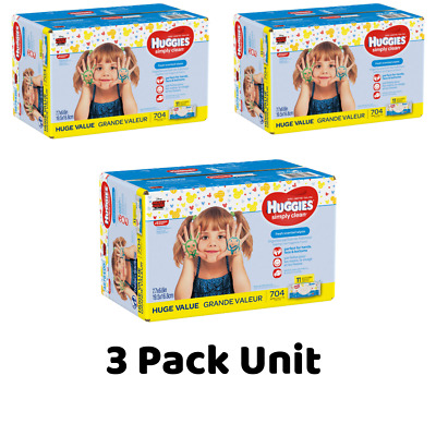 Huggies Simply Clean Baby Wipes Fresh Scent 11 packs of 64 (704 count) - (3 Box)