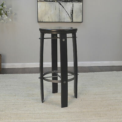 Carolina Forge Acacia Wood Wine Barrel-Style Bar Stool- 30in. Antique Black