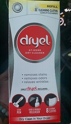 8-Loads Dry Cleaner Refill Dryel Home Kit Loads for Dry Cleaning Special Clothes