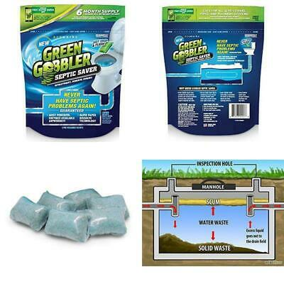 Green Gobbler SEPTIC SAVER Bacteria Enzyme Pacs - 6 Month Septic Tank Supply (FR