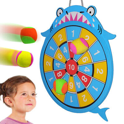 Sticky Darts Board Set Shark Dart Board Double-sided Ball Board Game for Kids