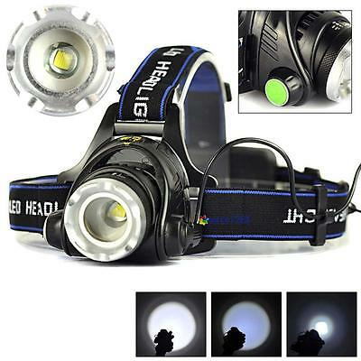 2000LM Zoomable New X-XM-L T6 LED 18650 HeadLamp Torch HeadLight Rechargeable MT