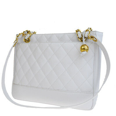 c1a8992b0950 Authentic CHANEL CC Quilted Chain Shoulder Bag Caviar Leather White 93EM951