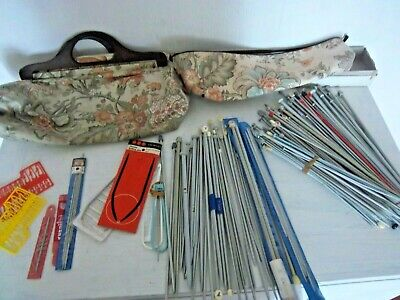 Bundle Joblot Knitting Needles Crochet 2 X Knitting Bags Various Sizes Etc