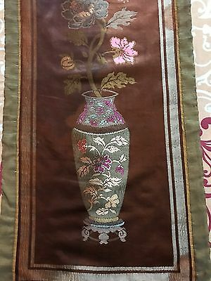 "Antique Chinese Brocade Silk Woven  Panel Wall Hanging 15"" By 51"""