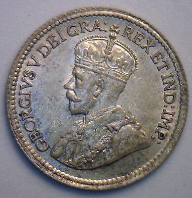 1919 George Silver 5 Cent Small Nickle Canadian Canada Coin MS3 unc.
