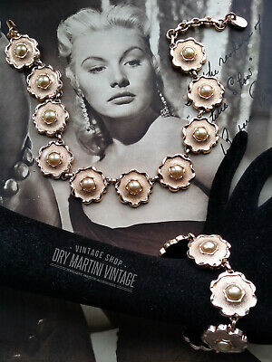 RARE VINTAGE 50s GOLD TONE FLOWER PEARL NECKLACE & BRACELET SET SIGNED FRANCE