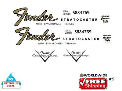 Fender Stratocaster Guitar Decal Headstock Inlay Decal Restoration Logo 9
