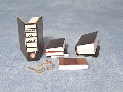 Dolls House Miniatures:  Box File, Five Books & Spectacles Set : in 12th scale