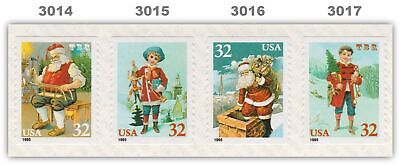 3014-17 3017 3017a Christmas Holiday 32c Coil Strip of 4 From 1995 MNH - Buy Now