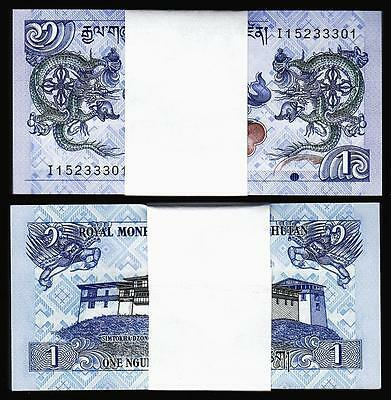 Bhutan 1 Ngultrum Unc Bundle 100 Pcs
