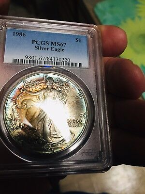 🌈 Tone 1986 American Silver Eagle PCGS MS67 Dual 2 Sided Rainbow 🌈 ASE