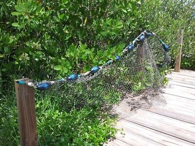 Exclusive- 8' Authentic Old Fishing Net Blue Green Floats Coastal Nautical Swag
